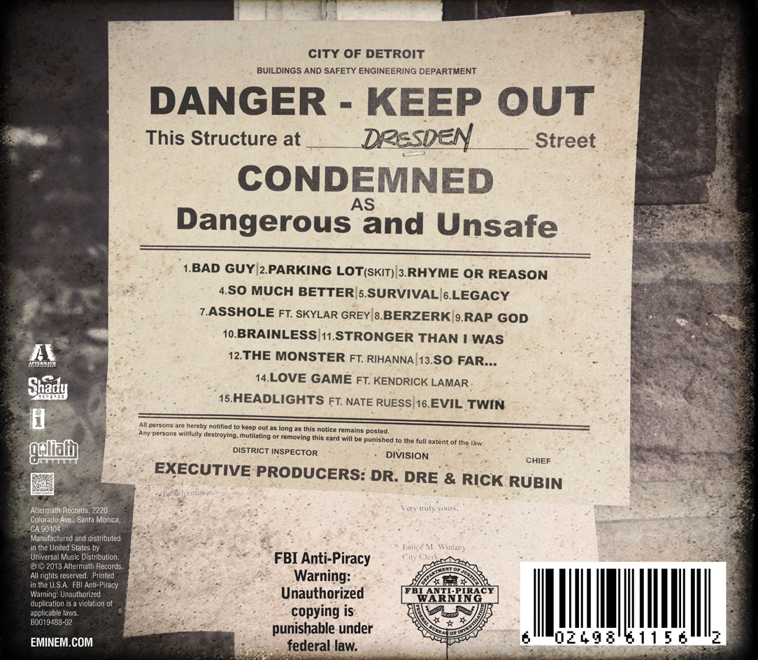 Eminem 'The Marshall Mathers LP 2' Tracklist   Rap Radar Eminem Survival Album Cover
