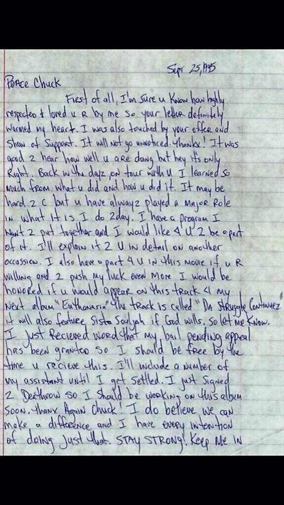 chuck d tupac letter
