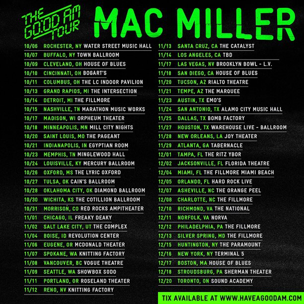 Mac Miller Go Od Am Tour Dates Rap Radar