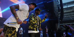 EAST RUTHERFORD, NJ - JUNE 07:  50 Cent and  Chris Brown perform at the 2015 Hot 97 Summer Jam at MetLife Stadium on June 7, 2015 in East Rutherford, New Jersey.  (Photo by Brad Barket/Getty Images)