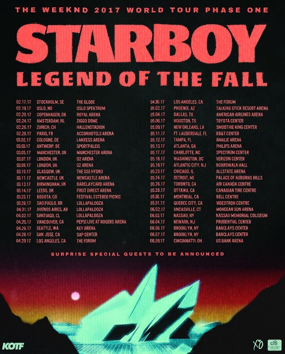 The Weeknd Starboy Tour Song List