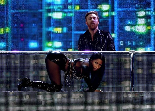 LAS VEGAS, NV - MAY 21:  DJ David Guetta (top) and rapper Nicki Minaj perform onstage during the 2017 Billboard Music Awards at T-Mobile Arena on May 21, 2017 in Las Vegas, Nevada.  (Photo by Ethan Miller/Getty Images)