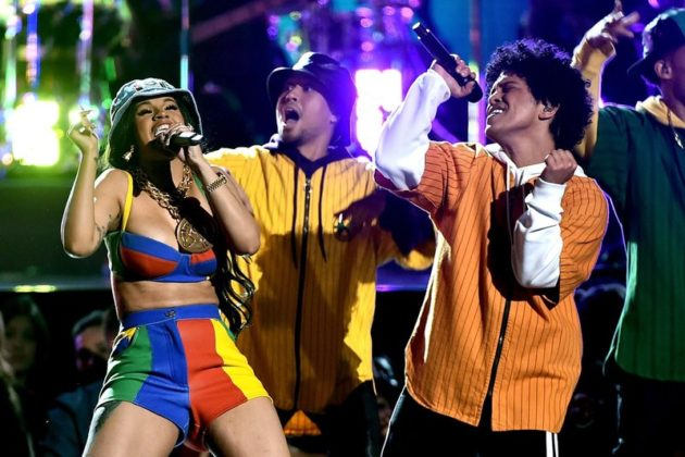 NEW YORK, NY - JANUARY 28:  Recording artists Cardi B (L) and Bruno Mars (R) perform onstage during the 60th Annual GRAMMY Awards at Madison Square Garden on January 28, 2018 in New York City.  (Photo by Theo Wargo/WireImage)
