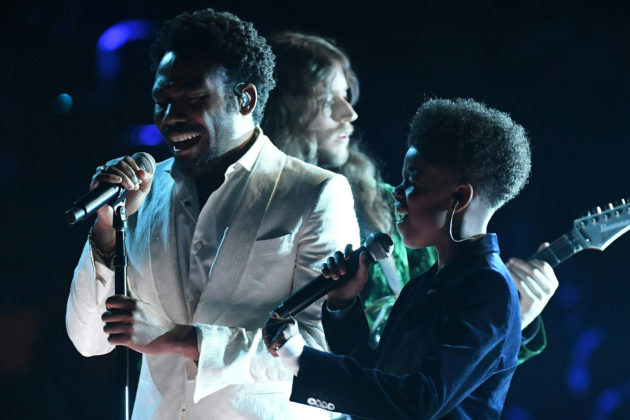 Childish Gambino (L) performs during the 60th Annual Grammy Awards show on January 28, 2018, in New York.  / AFP PHOTO / Timothy A. CLARY        (Photo credit should read TIMOTHY A. CLARY/AFP/Getty Images)