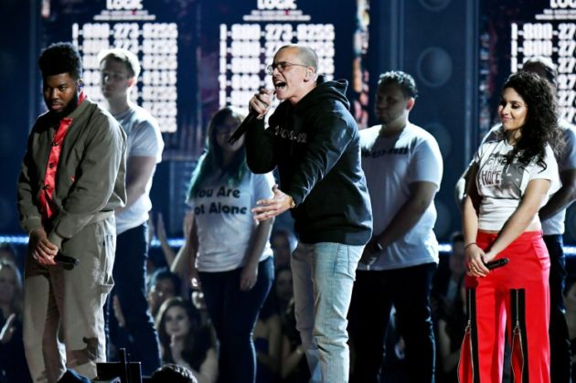 NEW YORK, NY - JANUARY 28:  Recording artists Khalid, Logic and Alessia Cara perform onstage during the 60th Annual GRAMMY Awards at Madison Square Garden on January 28, 2018 in New York City.  (Photo by Jeff Kravitz/FilmMagic)