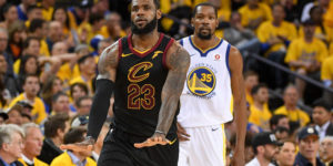 May 31, 2018; Oakland, CA, USA; Cleveland Cavaliers forward LeBron James (23) celebrates in front of Golden State Warriors forward Kevin Durant (35) during the third quarter in game one of the 2018 NBA Finals at Oracle Arena. The Warriors defeated the Cavaliers 124-114 for a 1-0 lead in the series. Mandatory Credit: Kyle Terada-USA TODAY Sports