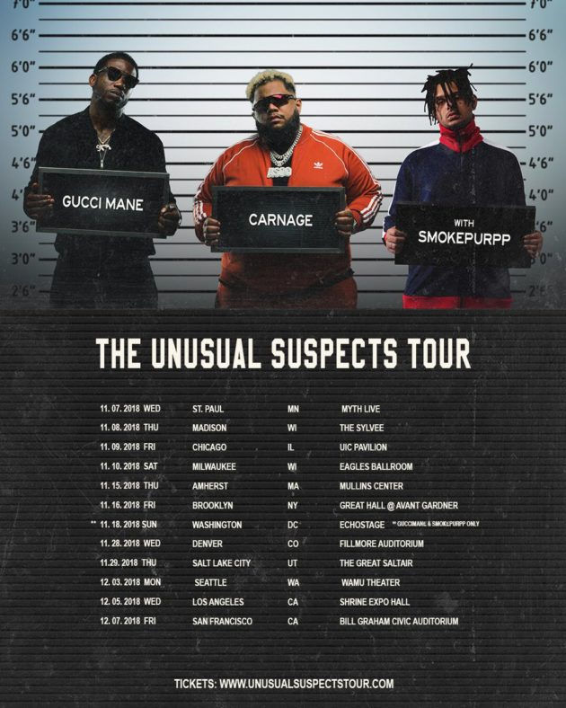 usual-sus-630x788 Gucci Mane, Carnage, & Smokepurpp 'The Unusual Suspects' Tour Dates Are Here